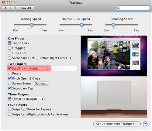 OS X: Trackpad scrolling with inertia